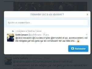 Tweet d'Axelle Le Maire sur le rapport de la Cour des Comptes