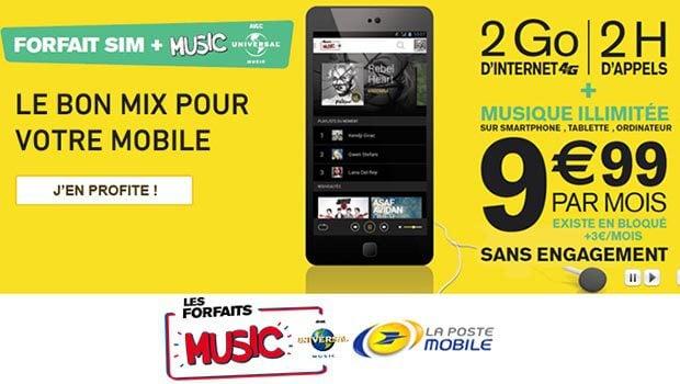 Les forfaits SIM+Music de La Poste Mobile Universal Music, sans engagement