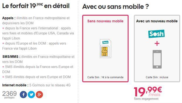 Sosh 5Go avec SMS et MMS DOM et SMS Europe