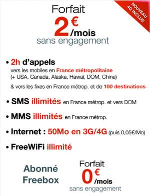 free renouvelle son forfait deux euros