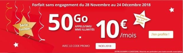 Forfait mobile Auchan Telecom : 50Go à 10 euros/mois jusqu'au 24 décembre