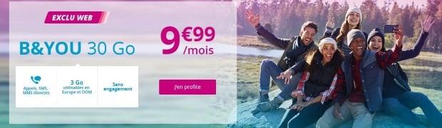Forfait mobile B&You en promo