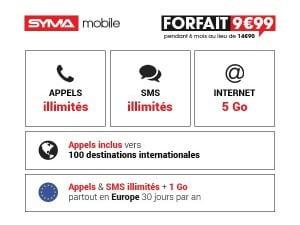 Syma Mobile : soldes sur le forfait 5 Go