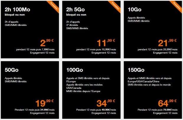 Nouveaux forfaits mobiles Orange