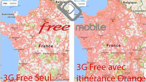 Crte de couverture 3G Free, sans et avec le réseau 3G d'Orange