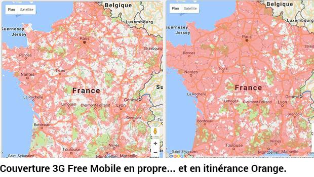 Couverture 3G par Free en France
