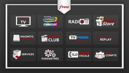 Interface TV de la Freebox Crystal