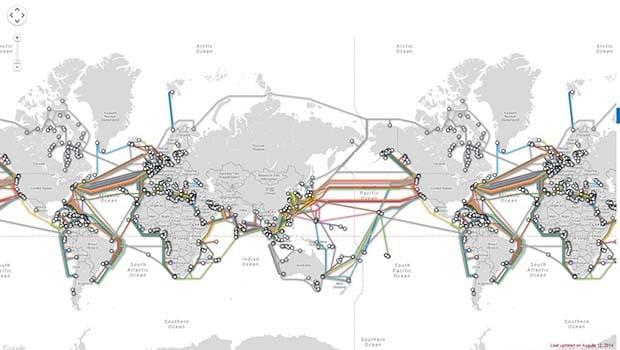 Submarine Cable Map : la carte des cables sous-marins de télécommunication