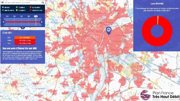 La carte de couverture fibre sur le Grand Lyon