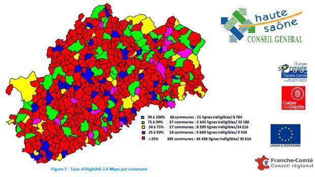 Les zones à moins de 8 Mbit/s en Haute-Saône