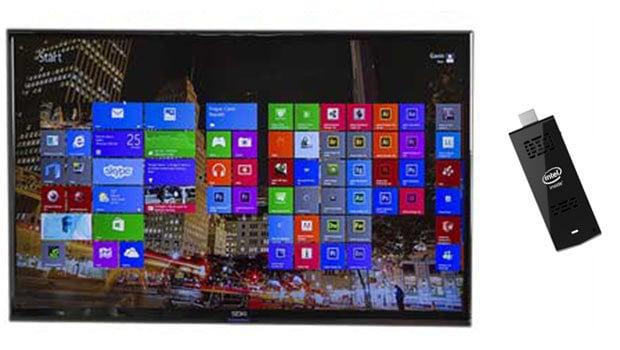 Branchée sur la prise HDMI d'un téléviseur, un véritable PC Windows 8.1 ou Linux