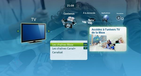 Interface TV Bbox Sensation