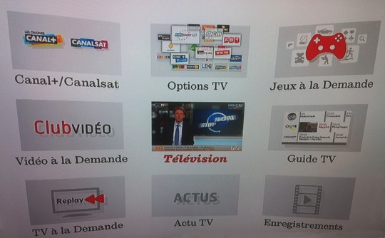 interface TV du décodeur Evolution de SFR