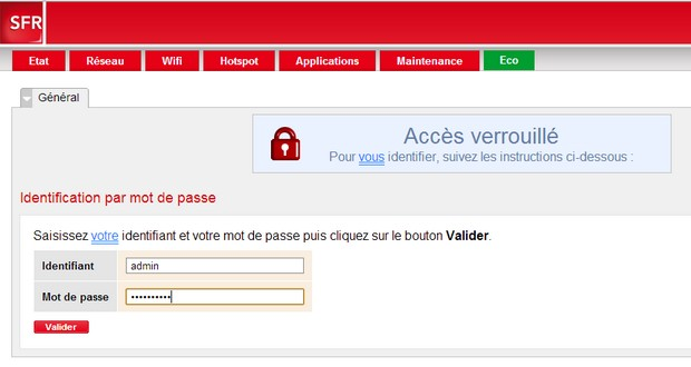 interface web de la Box de SFR
