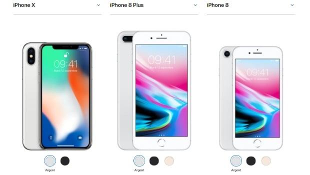 iPhone 8, iPhone 8 Plus et iPhone X