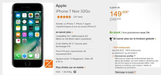 Orange : iPhone 7 à moins de 150€