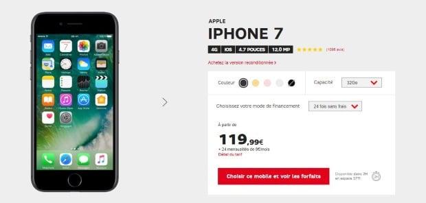 SFR : l'iphone 7 au meilleur prix d'entrée
