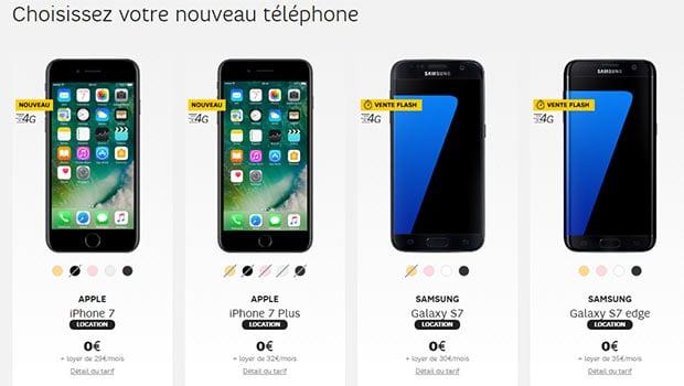 Les iPhone 7 et Galaxy S7 en location