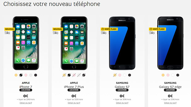 Les iPhone 7 et Galaxy S7 en location