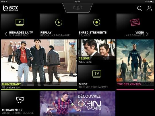 Ecran d'accueil de l'application LaBox TV sur iPad