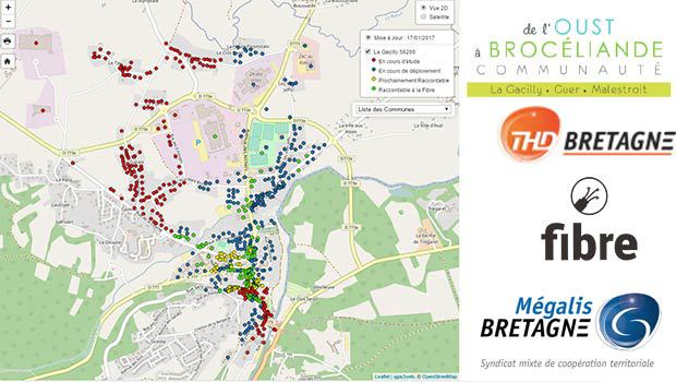 La carte des logements éligibles aux offres fibre de THD Bretagne