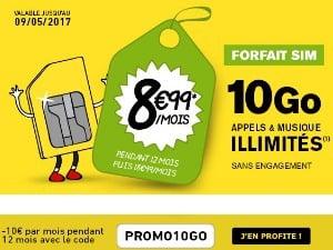Forfait 10Go La Poste Mobile à 8,99€/mois