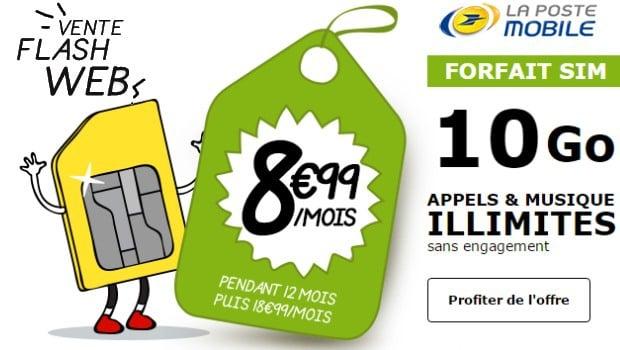 -10€ sur le 10Go La Poste mobile appels, SMS, MMS et musique illimités