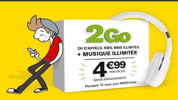 Forfait sIM 2Go + Music La Poste Mobile