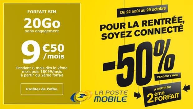 -50% pendant 6 mois sur un second forfait La Poste Mobile