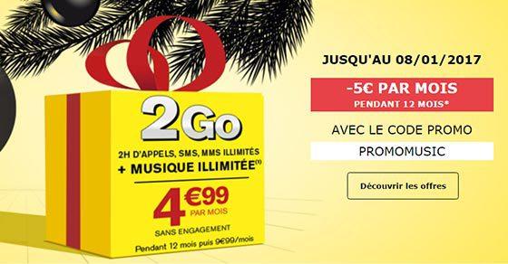 PROMOMUSIC : -5€ sur le forfait Music SIM 2H 2Go