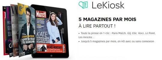 LeKiosk est disponible gratuitement pour les clients SFR Mobile