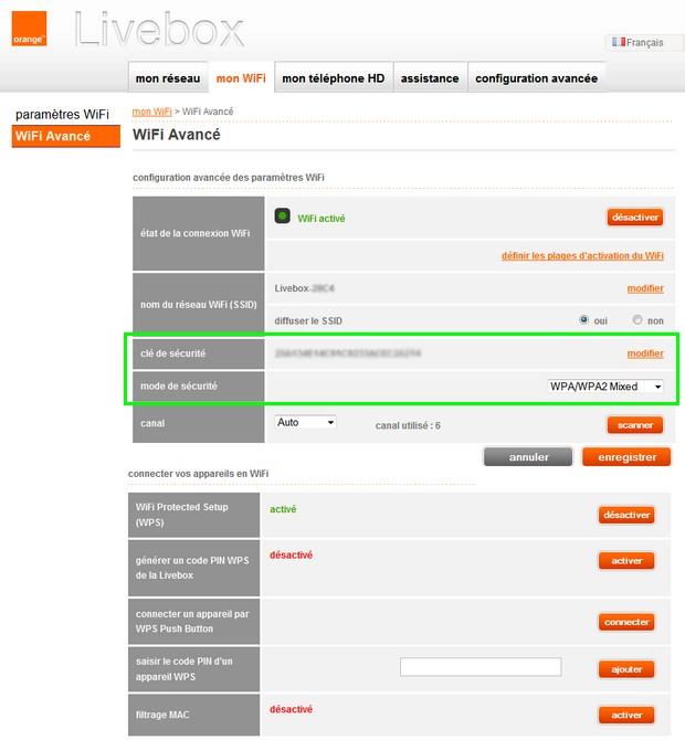 Changer le mot de passe du réseau wifi Orange