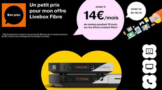 L'offre Livebox Fibre à -14€/mois pendant un an