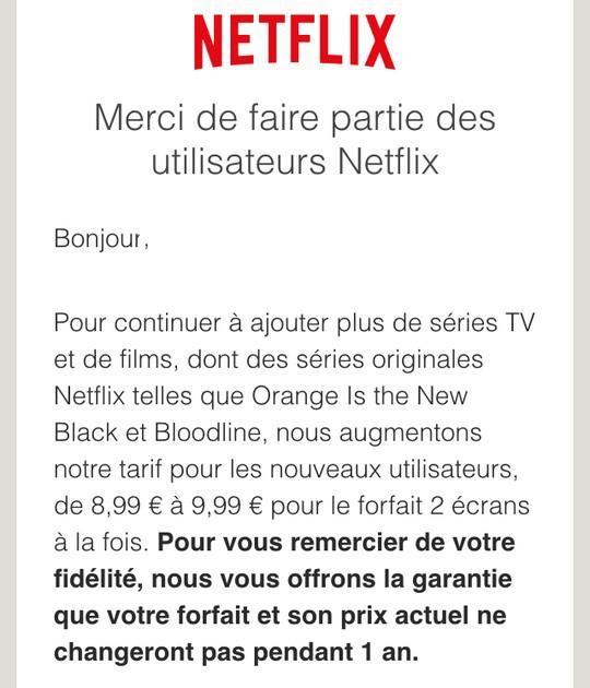 Annonce hausse de tarif de Netflix France