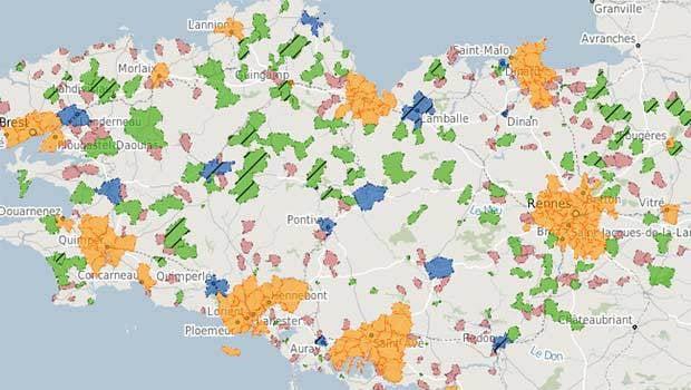 La carte des zones gérée par Mégalis Bretagne en bleue