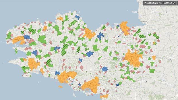 La carte des déploiements numériques en Bretagne