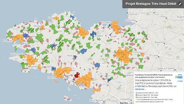 La carte de déploiement du THD en Bretagne