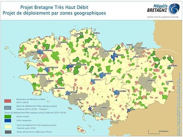 Projet Bretagne Très Haut Débit : déploiement par zones géographiques