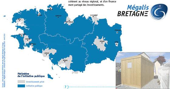 La carte de la Bretagne pour le déploiement fibre optique