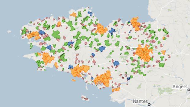 Les zones de la DSP THD Bretagne