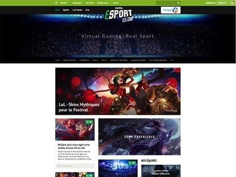 Un portail dédié aux jeux vidéo, du streaming et du chat avec les équipes et les spectateurs