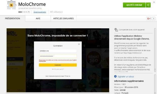L'extension Molochrome sur le Google Web Store