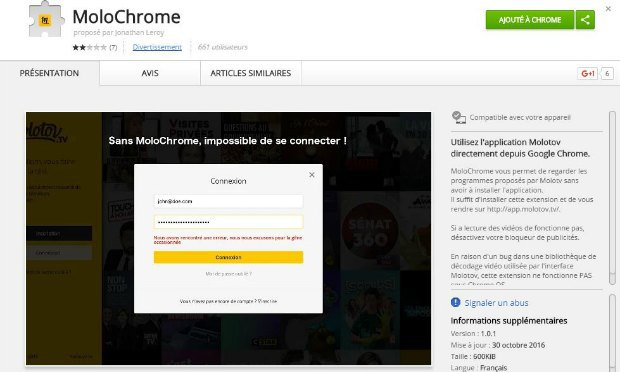 L'extension Molochrome sur le Google Web Store