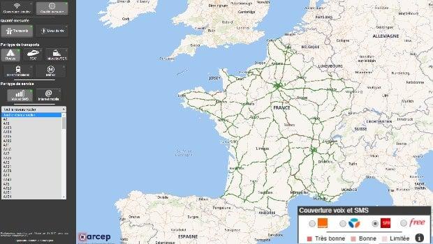 La carte de couverture mobile mesurée dans les transports par Mon Réseau Mobile