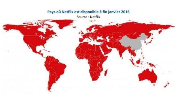 Présence mondiale de Netflix à fin janvier 2016