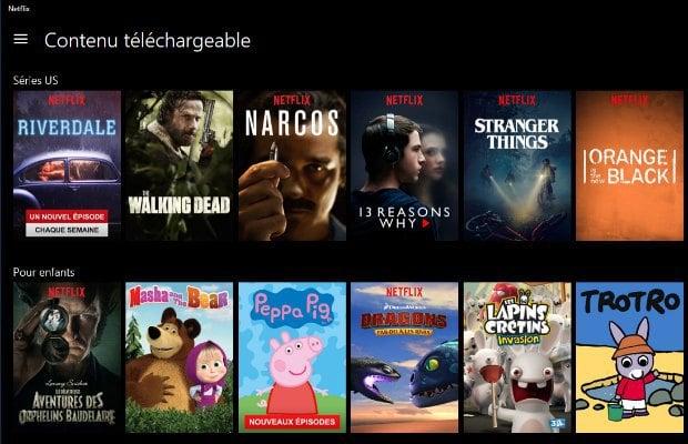 Netflix : contenus à télécharger