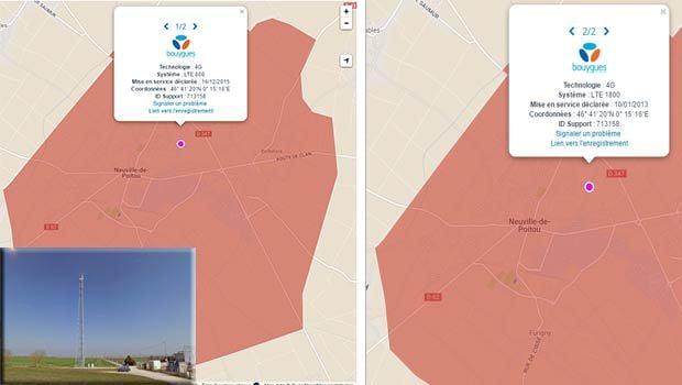 Le site 4G avec les antennes Bouygues Telecom