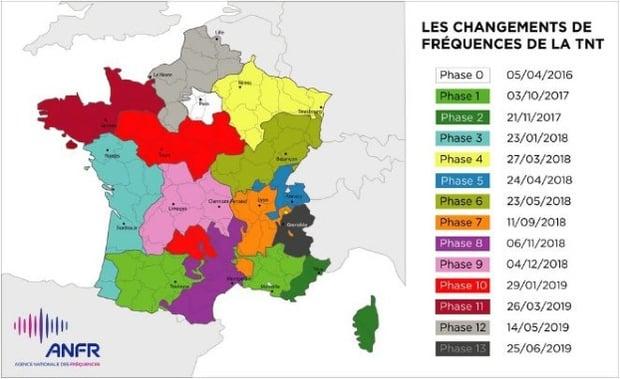 Nouvelles fréquences TNT : calendrier et zones