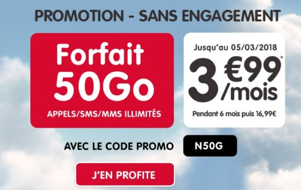 Forfait NRJ Mobile  50 Go à petit prix