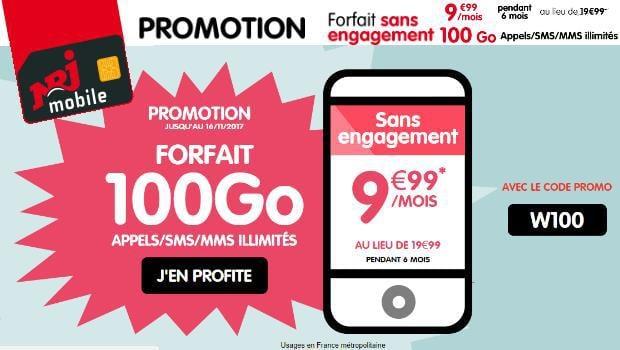 NRJ Mobile : code de réduction W100 pour le forfait 100 Go